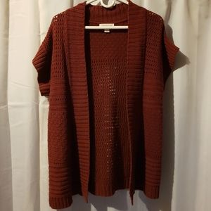 Coldwater creek short sleeve open knit cardigan lg